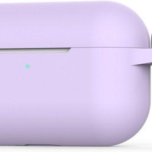 2-in-1 Silicone case beschermhoesje geschikt voor Apple AirPods Pro - Case met gratis karabijnhaak   EarKings - Paars lavendel