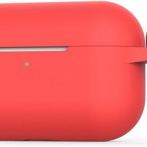 2-in-1 Silicone case beschermhoesje geschikt voor Apple AirPods Pro - Case met gratis karabijnhaak | EarKings - Rood