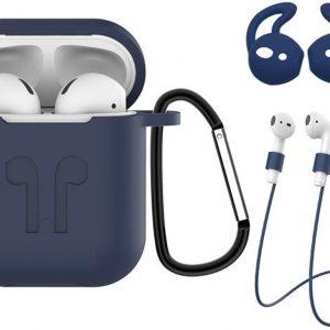 3-in-1 Siliconen Bescherm Hoes voor Apple AirPods Case Hoesje - Donker Blauw