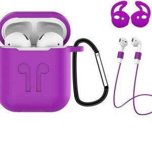3-in-1 Siliconen Bescherm Hoesje Case Cover voor Apple AirPods 1 Paars