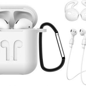 3-in-1 Siliconen Bescherm Hoesje Case voor Apple AirPods 1 Transparant