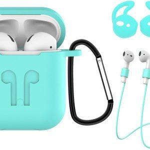 3-in-1 Siliconen Bescherm Hoesje Case voor Apple AirPods 1 Turquoise