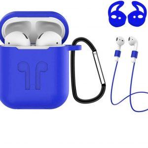 3-in-1 Siliconen Bescherm Hoesje Cover voor Apple AirPods Case - Blauw
