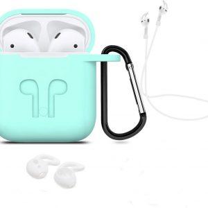 3 in 1 set! Hoesje voor Airpods siliconen case cover beschermhoes + strap + earhoox - mint groen