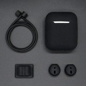 4 in 1 Silicone Protective Case Geschikt voor Apple AirPods | Zwart