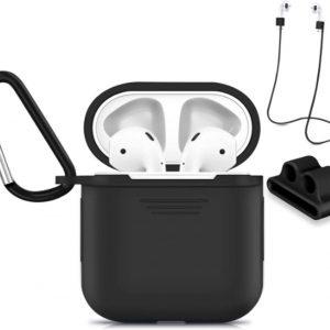Accessoires Set met Silicone Hoesje, Case en Strap voor Apple Airpods - Zwart