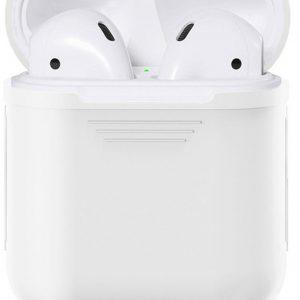 Airpods Silicone- Case -Cover- Hoesje- speciaal geschikt voor Apple Airpods 1 / 2 - Wit