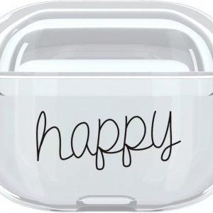 Apple AirPods Pro Case - Happy - Transparant - Geschikt Voor Apple AirPods Pro