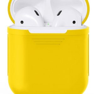 Apple Airpods Siliconen - Case - Cover - Hoesje - Speciaal voor Apple Airpods 1 en 2 - Geel
