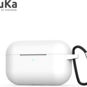 Bescherm Hoes Cover Case voor Apple AirPods Pro (Siliconen) met Haak - Wit