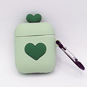 Cartoon Silicone Case voor Apple Airpods - love hart - groen - met karabijn - met karabijn