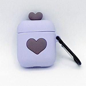 Cartoon Silicone Case voor Apple Airpods - love hart - purple - met karabijn - met karabijn