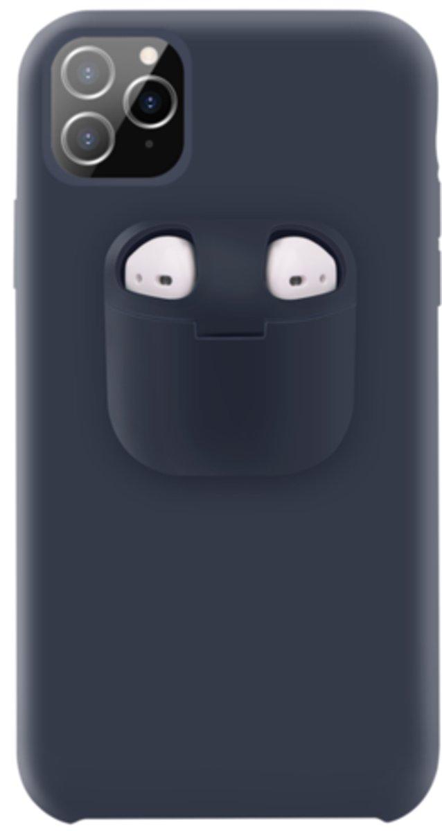 Discount 4 Life - Telefoonhoesje met AirPods doosje voor iPhone 11 Pro Donker Blauw - Hoesje met AirPods case holder op telefoon 2 in 1.