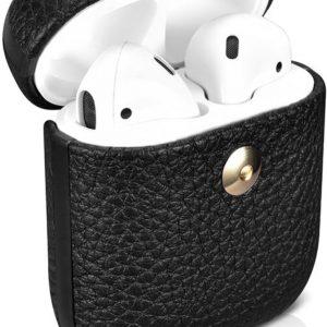 Icarer AirPods Case Leer hoesje voor Apple AirPods 1 / 2 lederen bescherm Etui Zwart