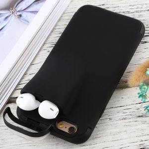 Let op type!! iPhone 6 TPU + Kunststof back cover Hoesje met opbergruimte voor AirPods (zwart)