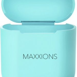 Maxxions Airpods Silicone Case Cover Hoesje voor Apple Airpods 1 en 2 - Cyaan Turquoise Licht Blauw