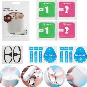 Metalen sticker geschikt voor Airpods - Accessoire voor Airpods - Anti magnetisch stof - Vuil bescherming - Zilver 2 stuks