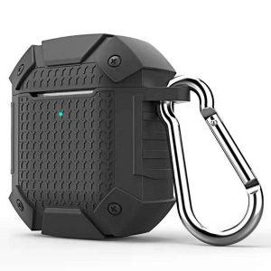 Mobigear Karabijnhaak Shockproof Armor Siliconen Cover Zwart voor Apple AirPods