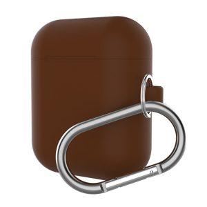 Mobigear Karabijnhaak Siliconen Cover Bruin voor Apple AirPods