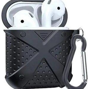 Ntech Zwart Dropshock Hoesje Kunststof TPU Airpods Case Met sleutelhanger voor Apple Airpods