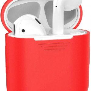 Siliconen Bescherm Hoesje Case Cover voor Apple AirPods Hoes - Rood