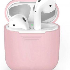 Siliconen Bescherm Hoesje Cover Roze voor Apple AirPods 1+2 Case