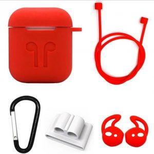 Siliconen Case Cover voor Apple Airpods - 5 in 1 set met Anti Lost Strap en Haak - Rood