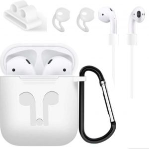 Siliconen beschermhoes cover + anti verlies strap voor Apple Airpods Accessoires set - Wit