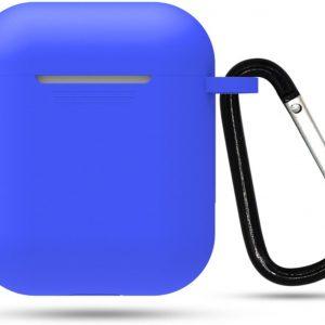Siliconen case | geschikt voor airpods | karabijnhaak | blauw