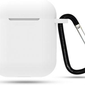 Siliconen case | geschikt voor airpods | karabijnhaak | wit