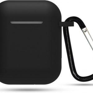 Siliconen case | geschikt voor airpods | karabijnhaak | zwart