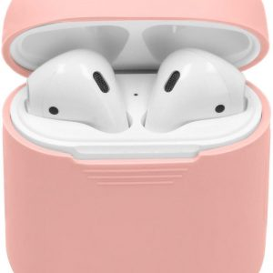 Soft silicone cover | voor Apple airpods| draadloze koptelefoon bescherm hoes | safety case| roze/pink