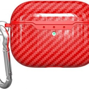 Teleplus Apple Airpods Pro Carbon Patterned Hook Silicone Case Red hoesje