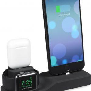 3 in 1 houder geschikt voor de Apple Watch & Airpods & iPhone - Zwart