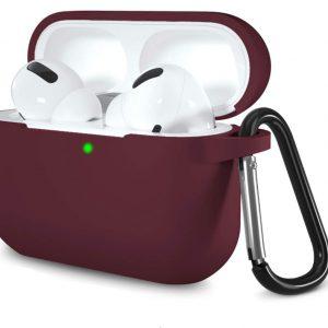 Apple Airpods Pro hoesje - Premium Siliconen beschermhoes met opdruk - 3.0 mm - Donker Rood
