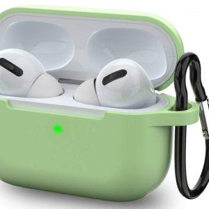 Apple Airpods Pro hoesje - Premium Siliconen beschermhoes met opdruk - 3.0 mm - Groen
