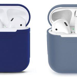 COMBI DEAL - 2 Stuks - Siliconen Bescherm Hoesjes Cover Blauw-Grijs en Blauw voor Apple AirPods 2 Case