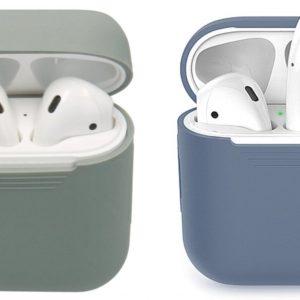 COMBI DEAL - 2 Stuks - Siliconen Bescherm Hoesjes Cover Blauw-Grijs en Groen-Grijs voor Apple AirPods 1+2 Case
