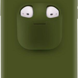 Discount 4 Life - Telefoonhoesje met AirPods doosje voor iPhone XS Leger Groen - Hoesje met AirPods case holder op telefoon 2 in 1.