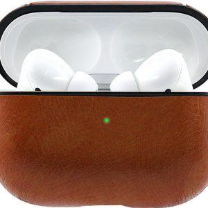Leren Case Lichtbruin Apple Airpods Pro - Airpods Pro Hoesje Lichtbruin