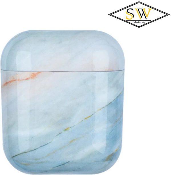 Marmeren Airpods case cover - Beschermhoesje - Lichtblauw - Voor versie 1 & 2 - Met gratis Dust guard sticker