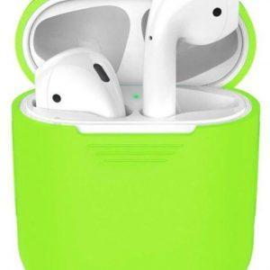 Siliconen Bescherm Hoesje Cover Fluor Neon Fel Groen voor Apple AirPods 1+2 Case
