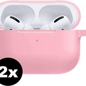 Siliconen Bescherm Hoesje Voor Apple AirPods Pro Case - Licht Roze - 2 PACK