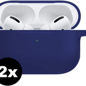 Siliconen Bescherm Hoesje Voor Apple AirPods Pro Case - Midnight Blue - 2 PACK