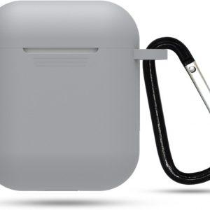 Siliconen case   geschikt voor airpods   karabijnhaak   grijs
