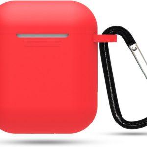 Siliconen case | geschikt voor airpods | karabijnhaak | rood
