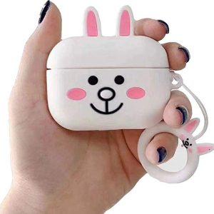 Cartoon Silicone Case voor Apple Airpods Pro - white rabbit