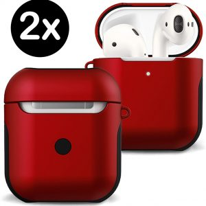 Hoes Voor Apple AirPods 1 Hoesje Case Hard Cover - Rood - 2 PACK