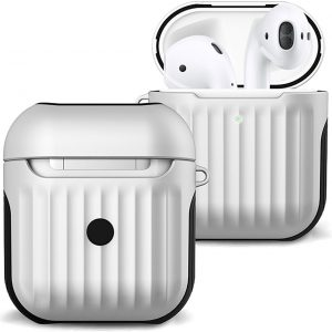 Hoes Voor Apple AirPods 2 Case Hoesje Hard Cover Ribbels - Wit