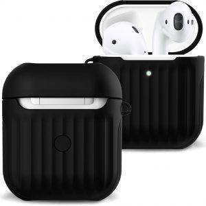 Hoes Voor Apple AirPods 2 Case Hoesje Hard Cover Ribbels - Zwart